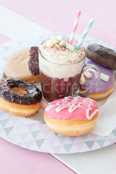 Hot chocolate and donuts Stock photo © BarbaraNeveu