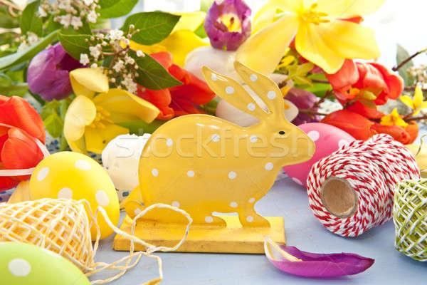 Пасхальный заяц красочный цветы желтый весенние цветы Сток-фото © BarbaraNeveu