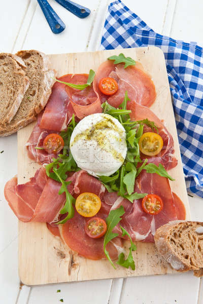 Mozzarella, smoked ham and fresh tomatoes Stock photo © BarbaraNeveu
