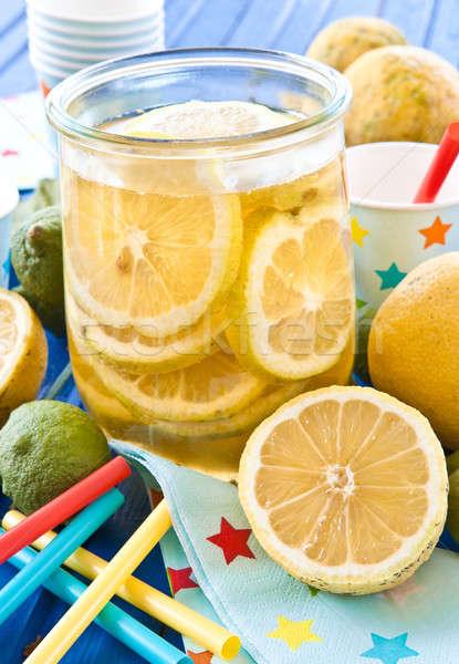 Házi készítésű ice tea friss citromok klasszikus bögre Stock fotó © BarbaraNeveu