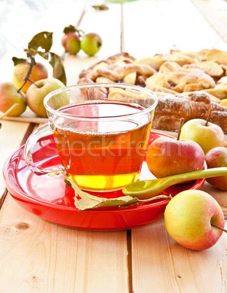 Házi készítésű almás pite friss organikus almák csésze Stock fotó © BarbaraNeveu