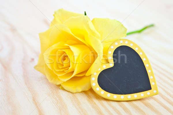 Citromsárga rózsa címke szeretet szív születésnap Stock fotó © BarbaraNeveu