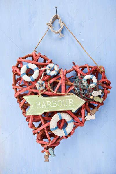 Stok fotoğraf: Mavi · tabelasını · liman · dekoratif · ahşap · plaj