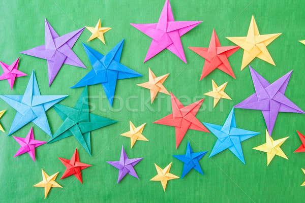 красочный оригами звезды Рождества зеленый бумаги Сток-фото © BarbaraNeveu