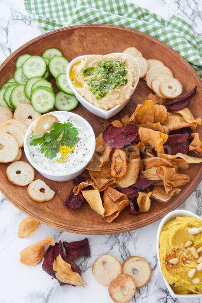 Hummus and vegetable chips Stock photo © BarbaraNeveu