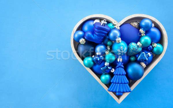 Kék karácsony fa forma szív csillag Stock fotó © BarbaraNeveu