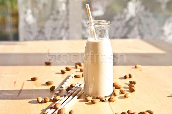 Bouteille amande lait vintage maison papier Photo stock © BarbaraNeveu