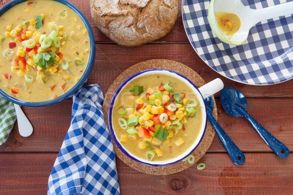 Colorful vegetarian corn chowder Stock photo © BarbaraNeveu