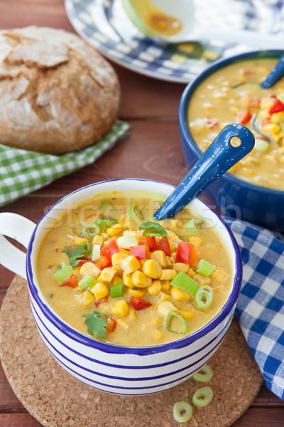 Colorful vegetarian corn chowder Stock photo © BarbaraNeveu
