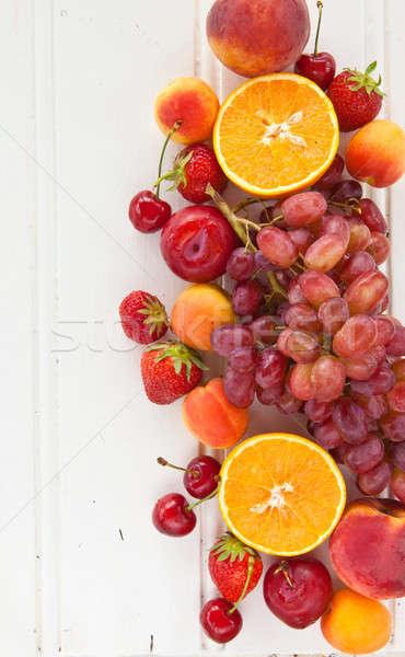Foto stock: Colorido · fresco · frutas · verão · comida · vermelho