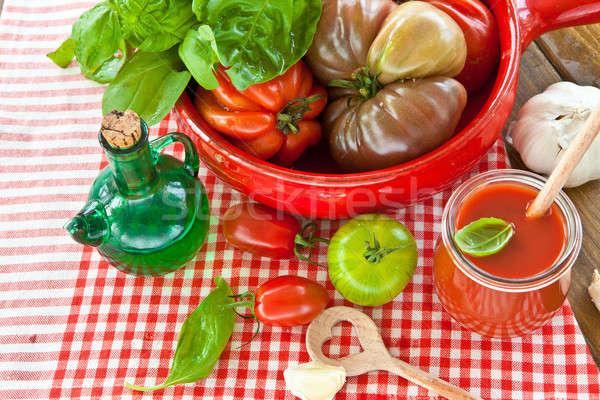 Tomatoes, mozzarella and fresh basil Stock photo © BarbaraNeveu