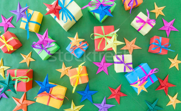 ストックフォト: カラフル · プレゼント · クリスマス · 緑 · 星