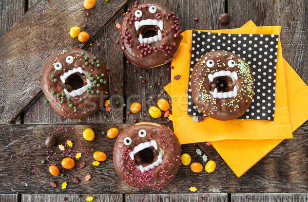 Scary halloween donuts chocolade suiker voedsel Stockfoto © BarbaraNeveu