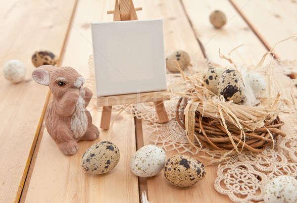 Pascua nido huevos rústico alimentos Foto stock © BarbaraNeveu