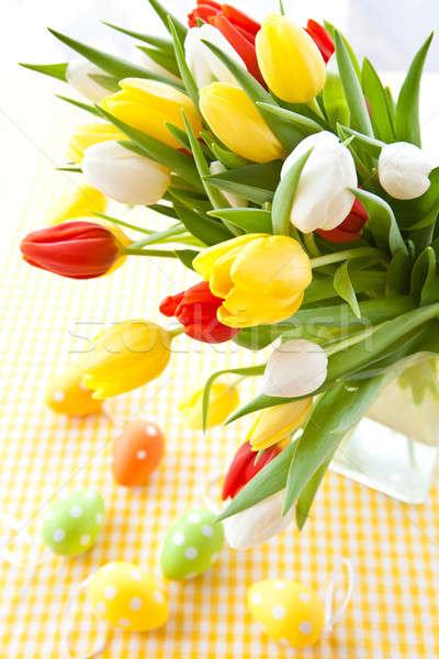 Fresco tulipas páscoa colorido vaso buquê Foto stock © BarbaraNeveu