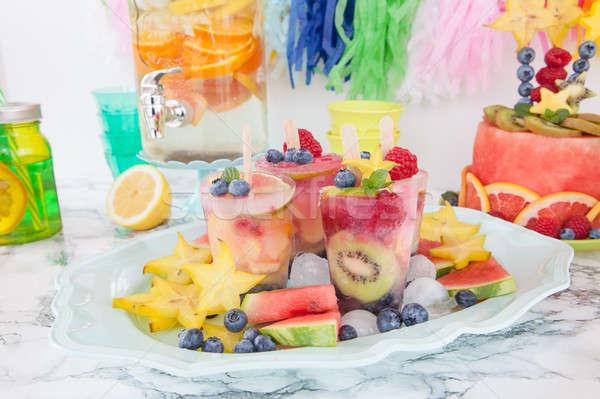 Casero congelado frescos frutas verano placa Foto stock © BarbaraNeveu