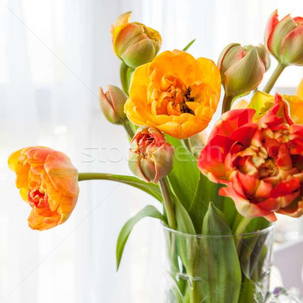 świeże tulipany Wazon czerwony żółty Wielkanoc Zdjęcia stock © BarbaraNeveu