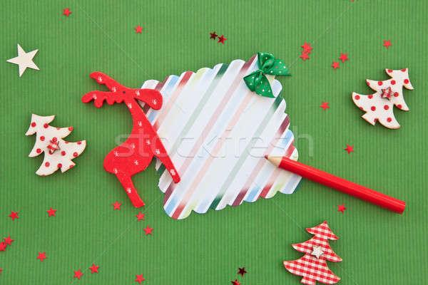 Vert Noël décorations temps stylo fond Photo stock © BarbaraNeveu