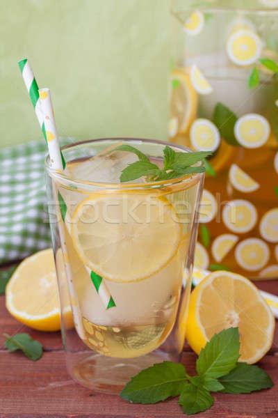 Házi készítésű ice tea citrom friss citromok menta Stock fotó © BarbaraNeveu