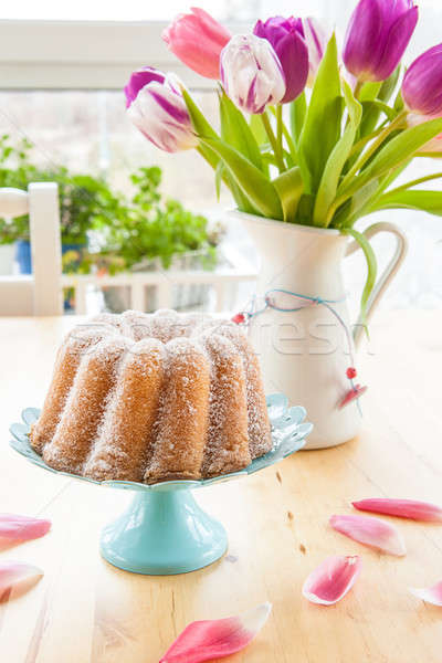 Sponge cake and tulips Stock photo © BarbaraNeveu