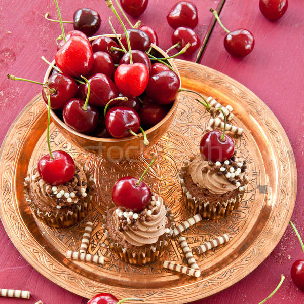 Chocolate cupcakes with cherries Stock photo © BarbaraNeveu