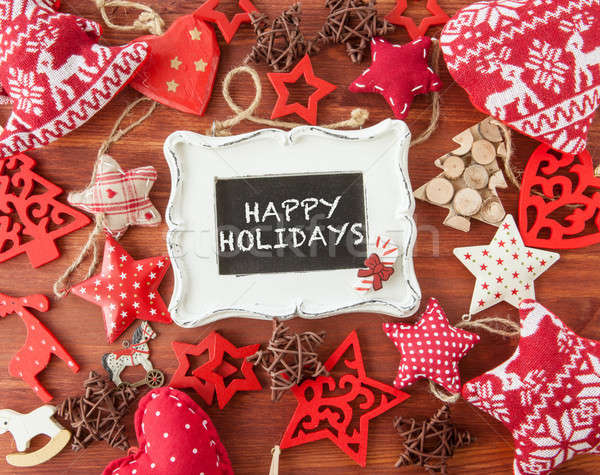 Stock photo: Rustic wooden background with christmas decorations