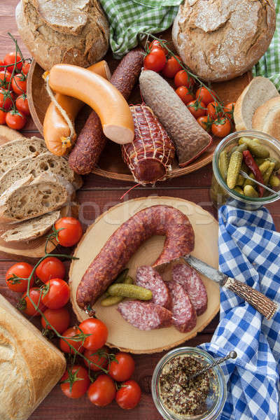Cured meats and sausages Stock photo © BarbaraNeveu