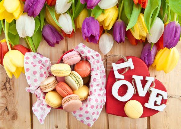 French macaroons in heartshaped box Stock photo © BarbaraNeveu