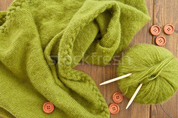 Handmade knitted scarf with green wool Stock photo © BarbaraNeveu