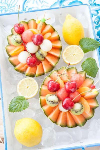Salade de fruits melon fruits frais salade tasse été Photo stock © BarbaraNeveu