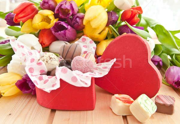 Variety of chocolates in heartshaped box Stock photo © BarbaraNeveu