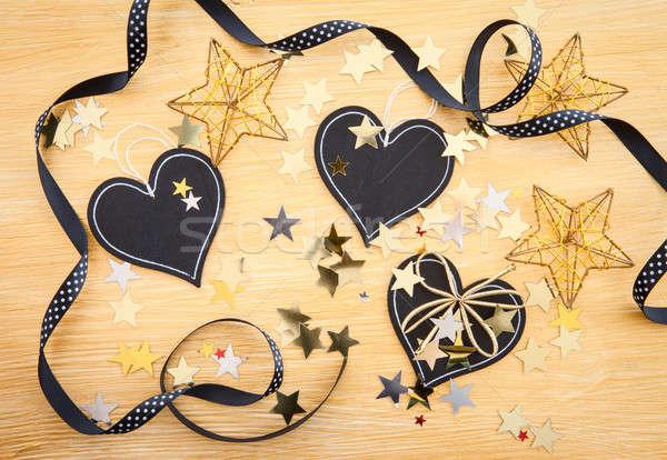 ストックフォト: 黒板 · クリスマス · 装飾 · 中心