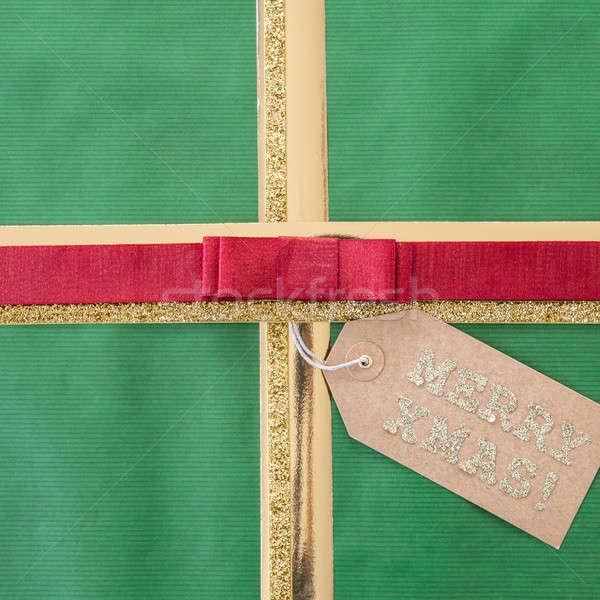 Zöld ajándék szalag copy space jókedv karácsony Stock fotó © BarbaraNeveu