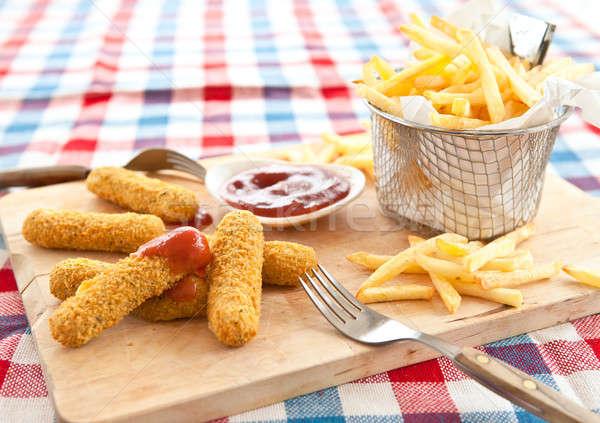 фри моцарелла свежие картофель фри продовольствие корзины Сток-фото © BarbaraNeveu