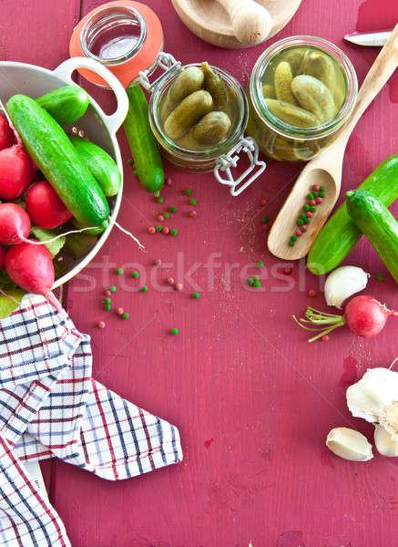 épices vinaigre vintage alimentaire fond légumes Photo stock © BarbaraNeveu