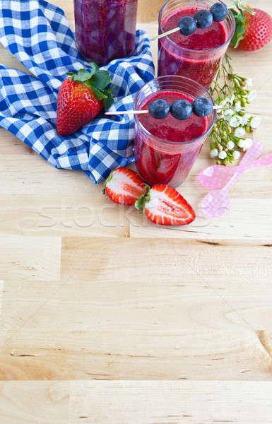 Foto stock: Fresco · morangos · mirtilos · fruto