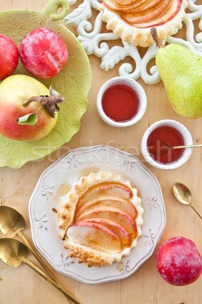 Friss alma torta tea zöld gyümölcsök Stock fotó © BarbaraNeveu