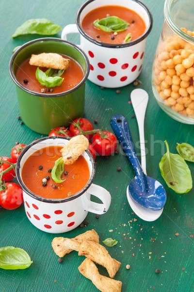 Stockfoto: Tomatensoep · rustiek · mok · hot · glazuur · voedsel