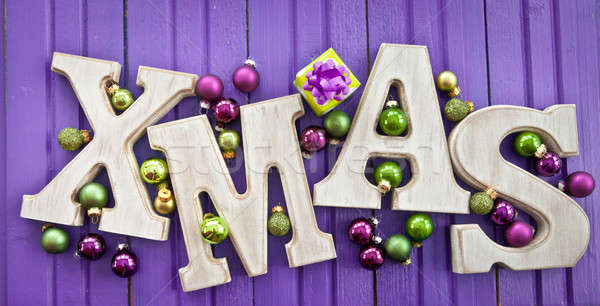XMAS letters with christmas baubles Stock photo © BarbaraNeveu