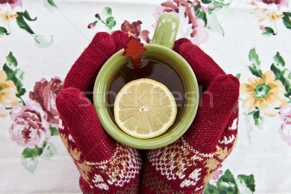 Foto stock: Manos · de · punto · guantes · taza · caliente