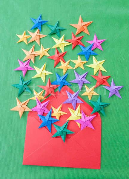 ストックフォト: カラフル · 折り紙 · 星 · クリスマス · 緑 · 赤