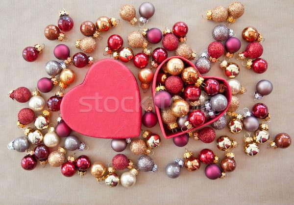Heart shaped box with christmas baubles Stock photo © BarbaraNeveu