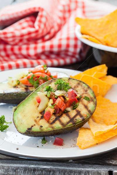 Gegrild avocado tortilla chips barbecue bbq Stockfoto © BarbaraNeveu