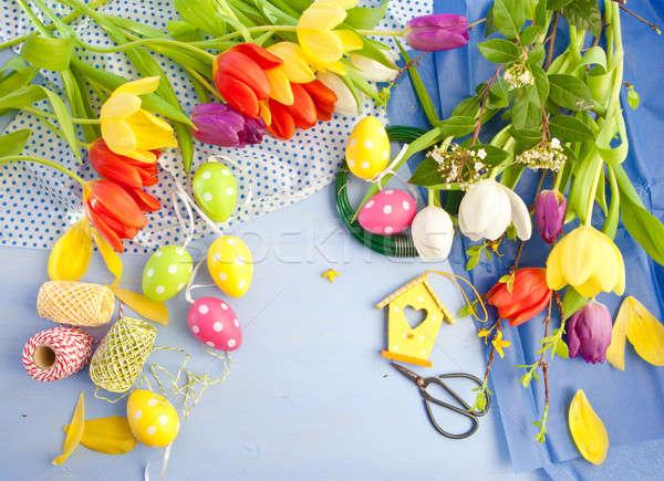 Fresh tulips on blue wooden background Stock photo © BarbaraNeveu