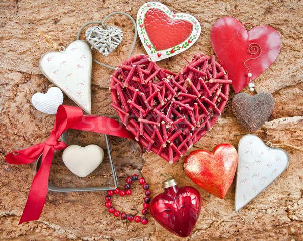 Különböző szívek fából készült ugatás színes rusztikus Stock fotó © BarbaraNeveu