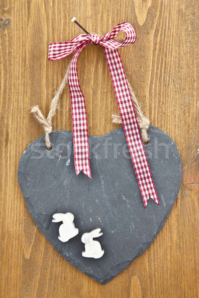 Little slate board with a red ribbon Stock photo © BarbaraNeveu
