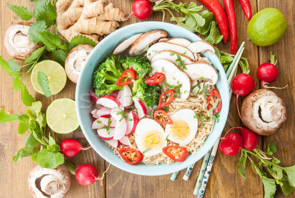 ストックフォト: アジア · ヌードル · スープ · ラーメン · 新鮮な · 食品