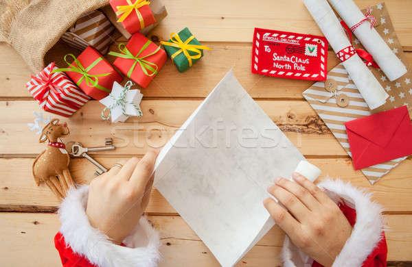 Foto stock: Papai · noel · leitura · cartas · saco · completo · presentes