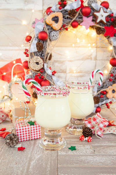 Egg nog with candy cane Stock photo © BarbaraNeveu