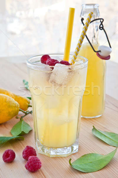 Stock photo: Cold lemonade with fresh lemons